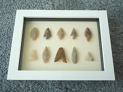 Neolithic Arrowheads in 3D Picture Frame, Authentic Artifacts 4000BC (0440)