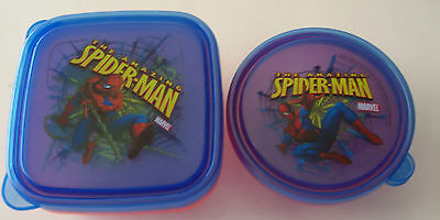 Lot Of 5 2007 Spiderman Plastic Food Storage Containers With Lids