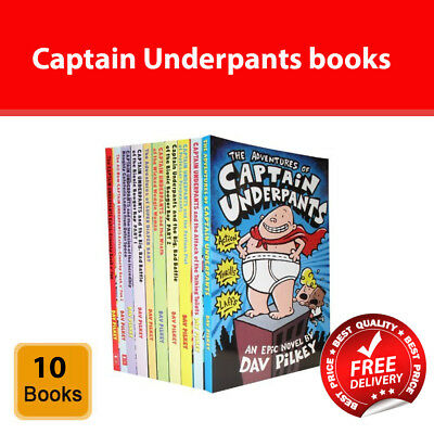 Captain Underpants collection Dav Pilkey 10 Books Set Children Pack NEW