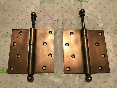 "Pair 4 1/2"" USA Stanley Sweet Heart Ball Top 1913 Pat. Steel Heavy Duty Hinges"