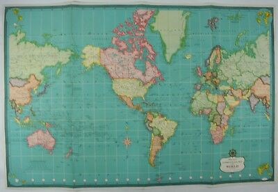 LARGE Original Antique Hammond's International Map Of The World Lithograph Print