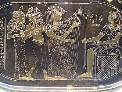 """EGYPTIAN Music Band METAL / BRASS / COPPER 5"""" X 9"""" WALL PLATE / DECORATION"""