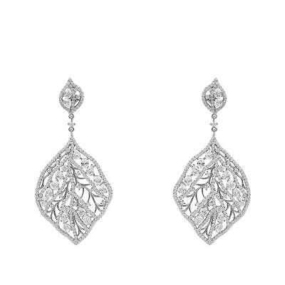 Latelita Leaf Floral Flower Earrings Large 925 Sterling Silver CZ Big Jewellery