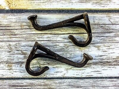 6 BROWN FANCY coat HOOKS CAST IRON hat WALL ANTIQUE-STYLE hardware rustic Lot