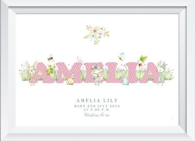 Personalised baby child woodland animal name print picture gift nursery wallart
