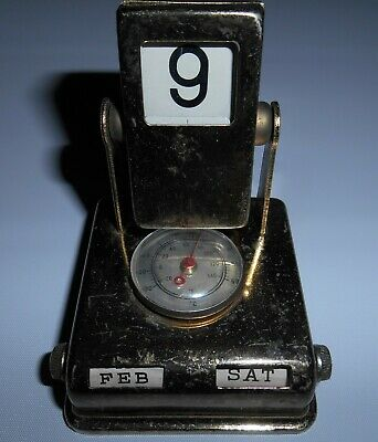 Vintage Mechanical Brass Perpetual Desk Calender With Thermometer
