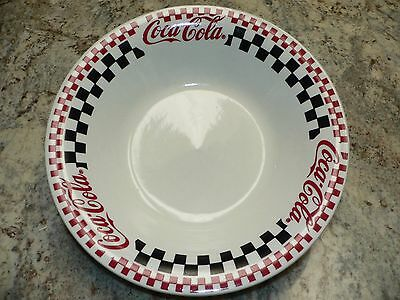 "Gibson China Checkerboard Coca Cola Soda Pop 10"" Round Stoneware Serving Bowl"