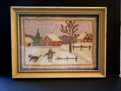 18c Victorian Hook loop hand embroidered  & framed Tapestry picture of winter