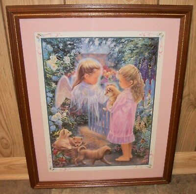 Home Interiors Homco #12336 Angel Friend with Puppies Picture Excellent