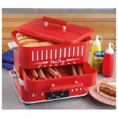 Hot Dog Steamer Machine Bun Compartment Electric Retro Warmer Cook Vintage Food