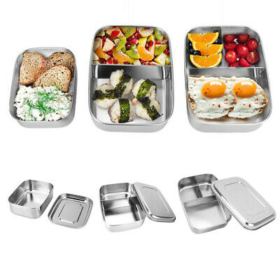 Metal Tiffin Lunch Box Stainless Steel Food Snacks Container School Office