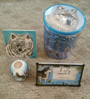 LOT of 4 -Wolf Wolves Decor - Carved Candle Picture Frame Tile Stand Tin - New