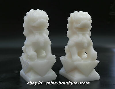 """7.9"""" Chinese Natural White Jade HandCarving Foo Fu Dog Guardion Lion Statue Pair"""