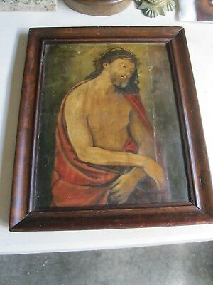 Large Antique Retablo On Tin Image Of Jesus With Old  Wood Frame  16'' By 20''