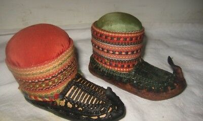 Pair of Vintage/Antique Leather Moccasin Pin Cushions – Probably Serbian