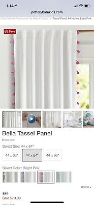 "Pottery Barn Kids 84"" Bella Tassel Bright Pink Blackout Panel Curtain"