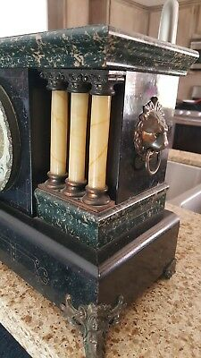 VINTAGE INGRAHAM MANTEL MANTLE CLOCK PALACE MODEL w KEY & IN WORKING CONDITION
