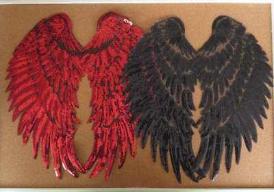 Large Sequin Angel Wings 1 pair RED or BLACK iron-on. Craft applique patch trim