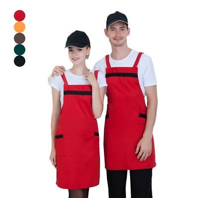 Men Women's Classic Apron with H Shoulder Strap Coffee Store Restaurant Workwear