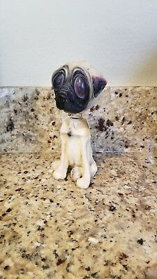 Rare Twisted Whiskers BIG EYED pug dog Bobblehead Collectors Large.Amer greeting