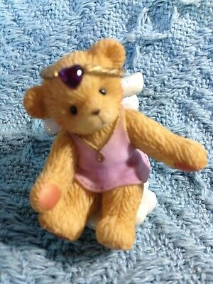 "Nos 2001 Avon Cherished Teddies ""angel On Cloud: February Birthstone 824429"
