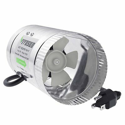 VIVOSUN 4 inch Inline Duct Booster Fan 100 CFM Extreme Low Noise Extra Long 5.5'