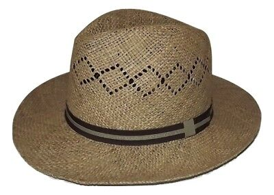 33fd81deaace5 New Country Gentelman Men s Vented Woven Straw Outback Hat Medium Size