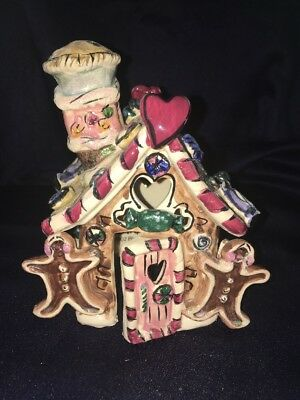Blue Sky Clayworks Christmas Gingerbread Cottage House 2002 Heather Goldminc