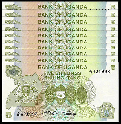 Uganda 5 Shillings 1982  P 15 Unc (10 Notes)