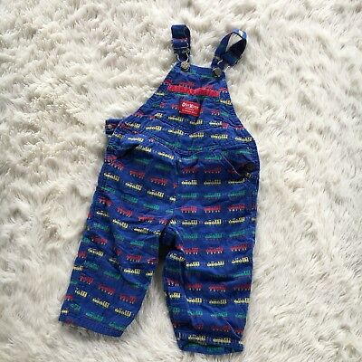 Vintage Oshkosh B'Gosh Vestbak Sz 18 Mos Blue Train Toddler Boys Overalls USA