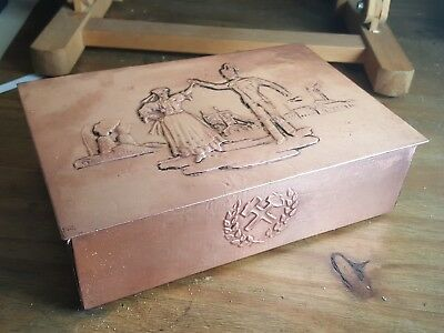 Vintage Arts & Crafts Engraved Copper box Polish Miner & Wife & Backdrop of pits