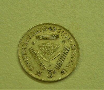 1943 South Africa 3 Pence Threepence Silver Coin