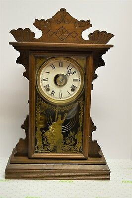 "Nice Antique EN Welch Walnut 8 day Gingerbread ""Linda"" Clock with Alarm & Key"