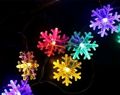 Snowflake Solar String Light 20 ft 30 LED Waterproof (Multicolor- Snowflake) NEW
