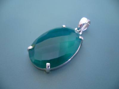 Sterling Silver 925 Lovely Big Checker Cut Green Onyx Gemstone Pendant - 9 Grams