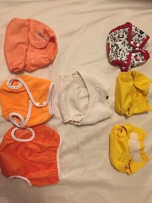 Cloth diaper set of 8, Covers lot of 7, 3 Clips