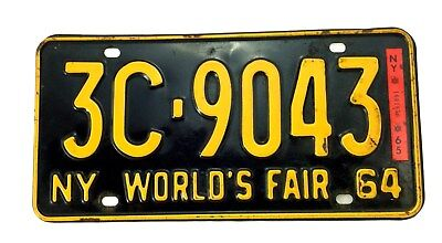 1964 New York Worlds Fair License Plate 3C-9043