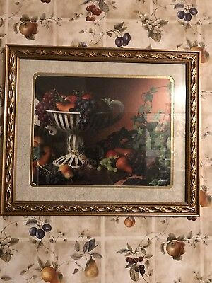 RARE HOME INTERIORS / HOME & GARDEN PARTY FRUIT PICTURE FRUIT BOWl & VINES