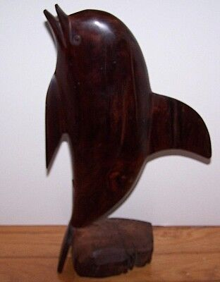 Hand Carved Solid Wood Dolphin Fish Carving Signed Angel Acosta Pto Vallarta Jal