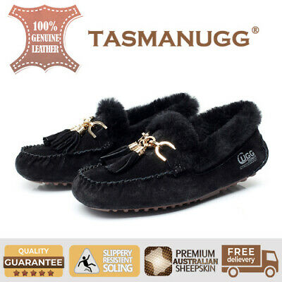 Tasman UGG -Flora Moccasin, Water-resist silky suede,wool insole, Ladies, Black