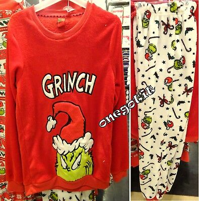 The Grinch Primark Ladies Fleece Pyjamas Womens Top Leggings Jumper