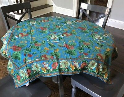 "Vintage Cornell Trading April Cornell Tablecloth Floral Cobalt Blue 48"" Square"