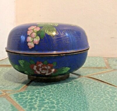 Antique Chinese Cloisonne Round Trinket Box Blue w/ Peony Floral