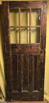 Antique Craftsman 6 Pane Glass 3 Panel Wood Exterior Entry Door 32x80