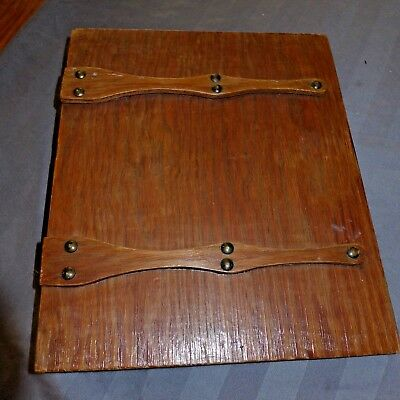 Vintage Antique Early 20th Century Wooden Book  3 Ring Notebook Binder AAFA
