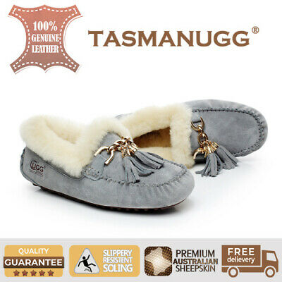 Tasman UGG -Flora Moccasin, Water-resist silky suede, Women/Ladies, Grey