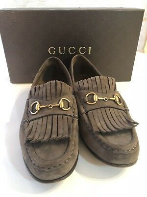 96d3d8a1eed Gucci Womens Grey Suede Leather Horsebit Loafers Shoes EUR 38.5   US 8