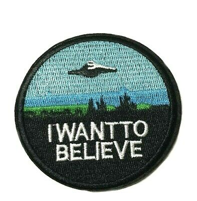 """Application X-Files """"I Want to Believe"""" Embroidered Sew/Iron-on Patch"""