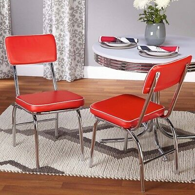 Retro Chair Kitchen Dining Set 2 50's Vintage Diner Mid Century Chrome Red
