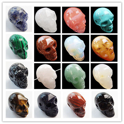 Interesting Carved Mixed Gemstone Skeleton skull DIY Pendant Bead NEW